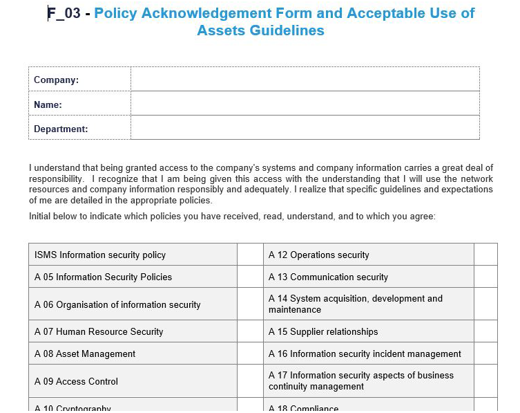 F_03- Policy Acknowledgement Form and Acceptable Use of Assets Guidelines